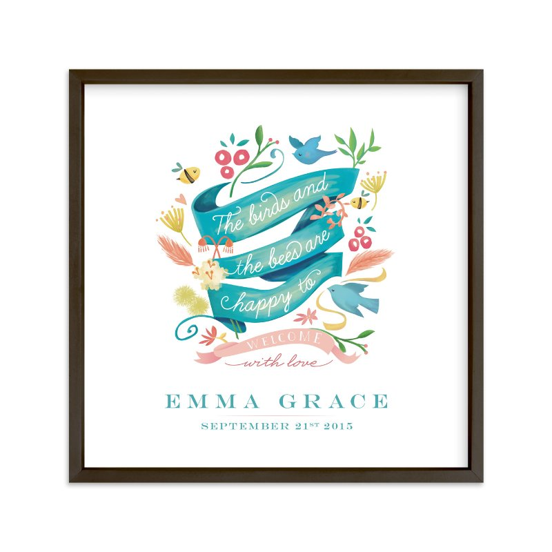 """""""Birds and the Bees Welcome Baby"""" - Nursery Custom Art Print by Lori Wemple in beautiful frame options and a variety of sizes."""