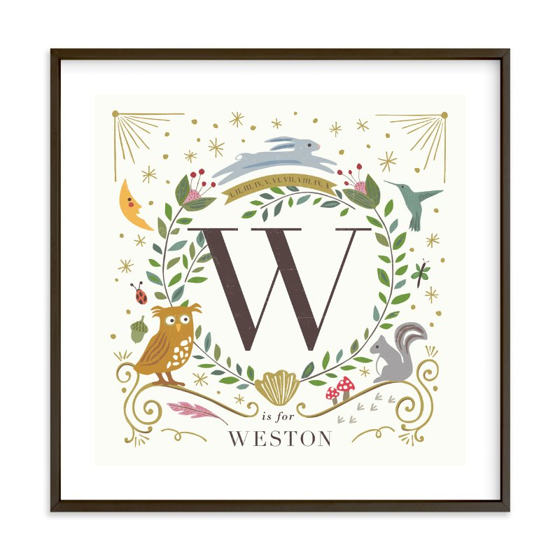 """Woodland Alphabet blocks"" - Nursery Custom Art Print by Griffinbell Paper Co. in beautiful frame options and a variety of sizes."