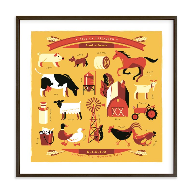 """""""And on that Farm"""" - Nursery Custom Art Print by Mike Grant in beautiful frame options and a variety of sizes."""