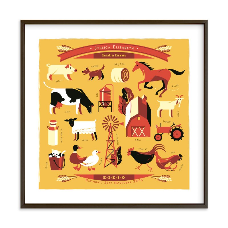 """And on that Farm"" - Nursery Custom Art Print by Mike Grant in beautiful frame options and a variety of sizes."