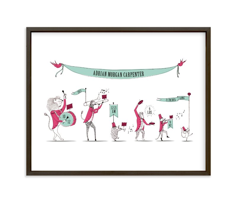 """Zoo on Parade"" - Nursery Custom Art Print by Kayla King in beautiful frame options and a variety of sizes."