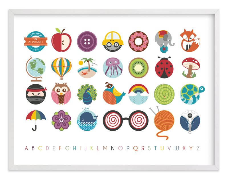 """""""Alphabet in the Round"""" - Nursery Custom Art Print by Lyndsay Johnson in beautiful frame options and a variety of sizes."""