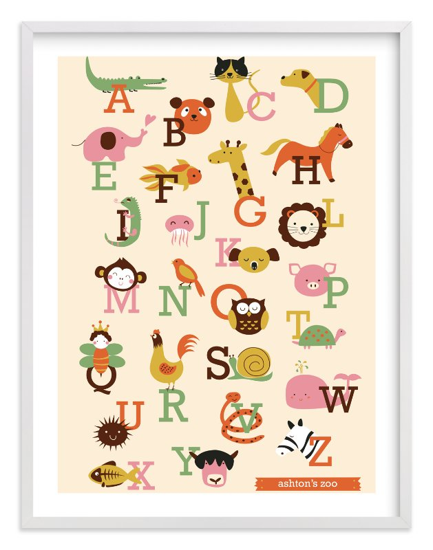 """""""Animal A to Z"""" - Nursery Custom Art Print by Anais Lee in beautiful frame options and a variety of sizes."""
