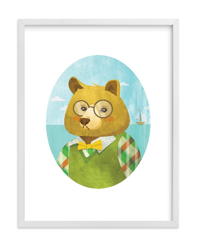 """""""Thaddeus J. Bear"""" - Limited Edition Art Print by Susie Allen in beautiful frame options and a variety of sizes."""