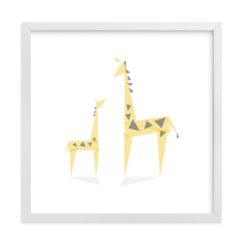 """""""Geometric Giraffe Mother and Baby"""" - Limited Edition Art Print by Caroline Szpak in beautiful frame options and a variety of sizes."""