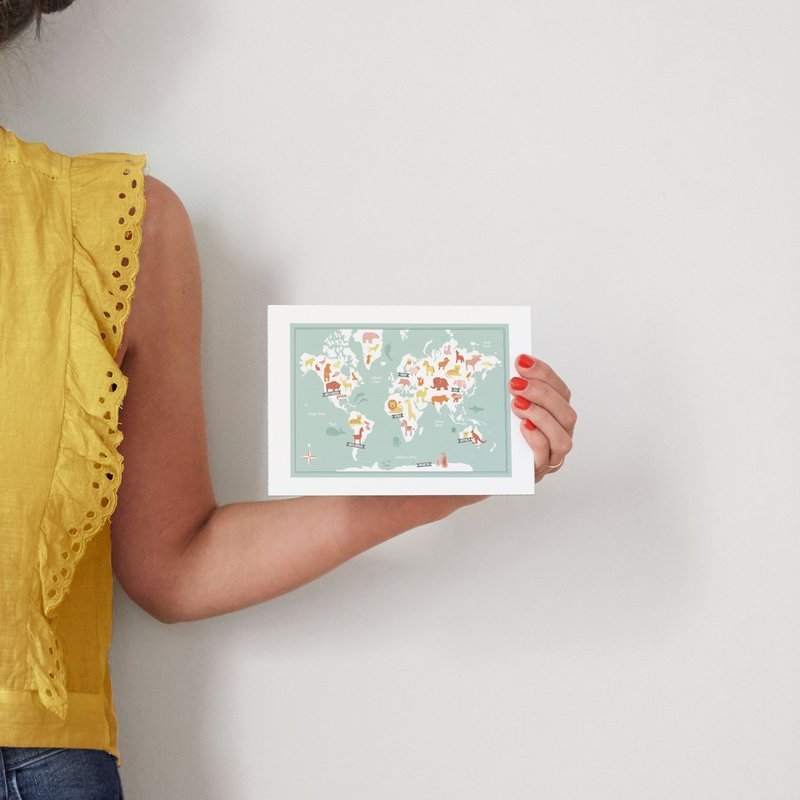Animal world map wall art prints by jessie steury minted for scale gumiabroncs Choice Image
