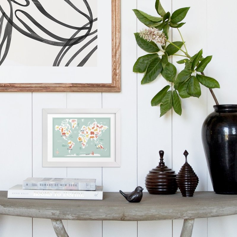 Animal world map wall art prints by jessie steury minted framed in a room gumiabroncs Choice Image