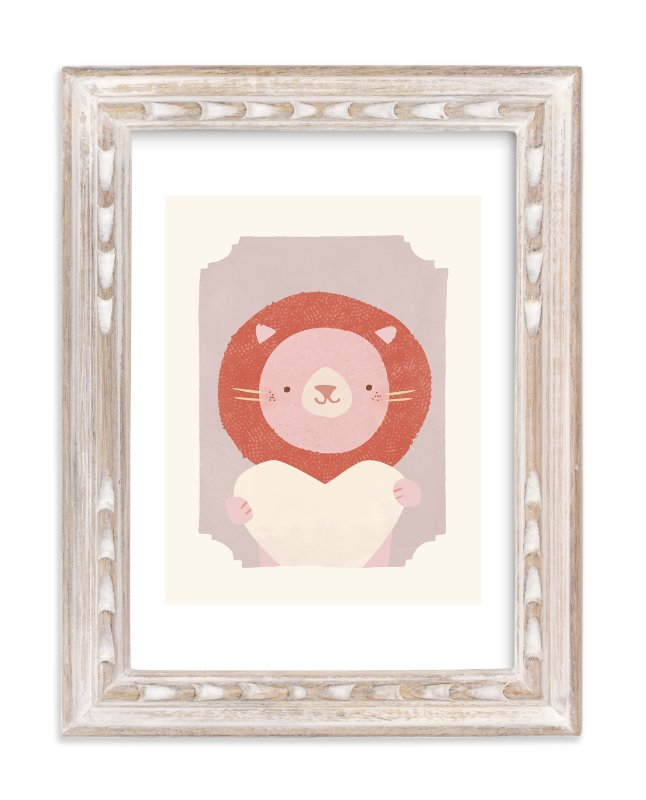 """""""Valentine Zoo Lion"""" - Limited Edition Art Print by Lori Wemple in beautiful frame options and a variety of sizes."""
