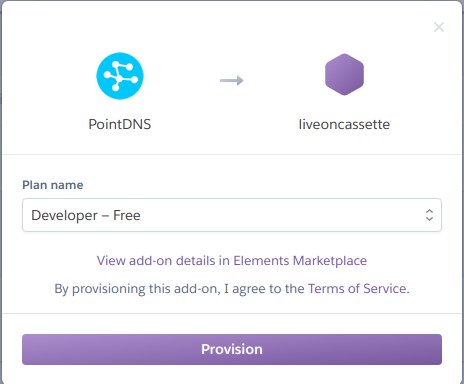 Provision the PointDNS add-on