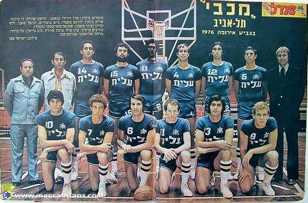 Yehoshua Shuki Schwartz Maccabi Tel Aviv Team Photo 1976