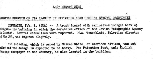JTA Headline Jerusalem office bombed