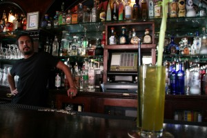 Elixir bar manager Eddie Bustos regularly mixes the eco-friendly cucumber drink, which rivals the Bloody Mary