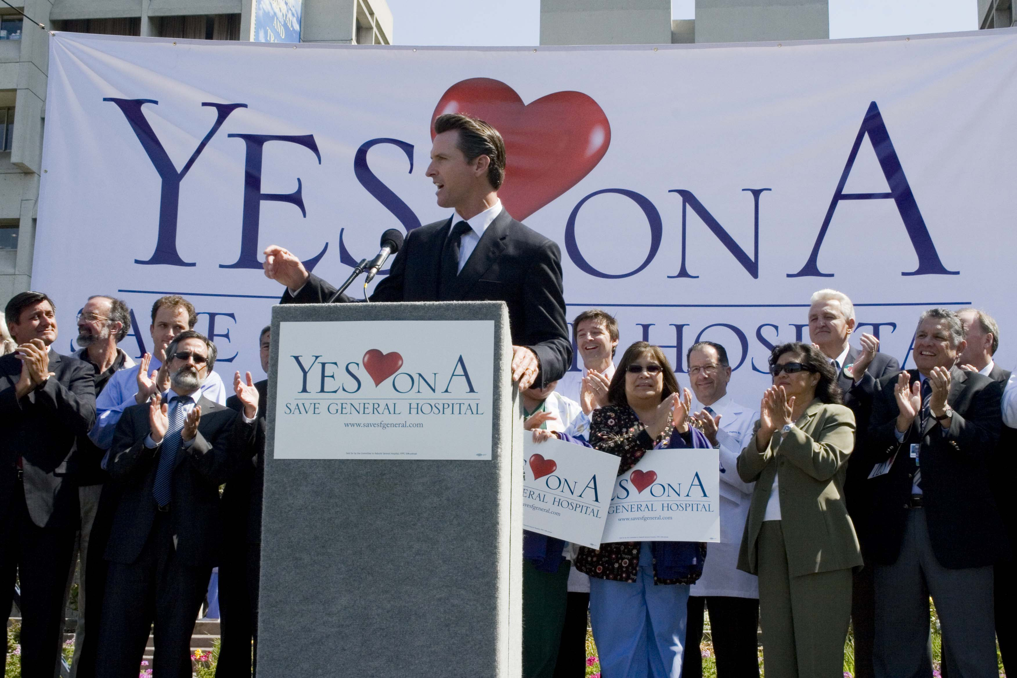 Mayor Gavin Newsom speaks in support of Proposition A.