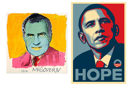 Andy Warhol for McGovern in 1972; Shepard Fairey for Obama in 2008.