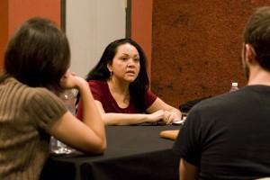 Josefina Lopez speaks with aspiring writers during her workshop at the Brava Theatre.