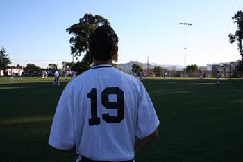 Jonathan Soto prepares to step onto the field.
