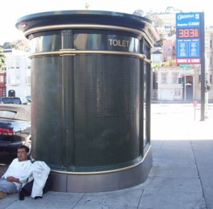 A public toilet is available one block away from Virgil on Cesar Chavez St.