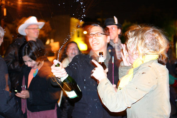 Champagne started flowing as Obama's victory was announced