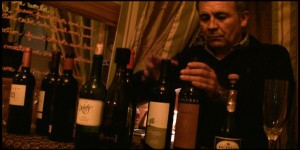 Germán Maldonado choosing the best glass of wine