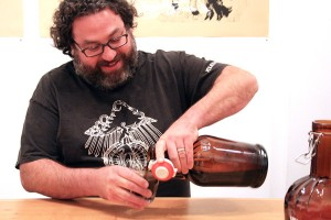 Dave McLean, brewmaster and owner of the Haight's Magnolia Pub and Brewery poured his Cole Porter brew at 18 Reasons on Monday night.