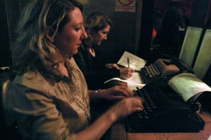 Jen Burke Anderson, 40, typed a letter in opposition to the opening of American Apparel on Valencia Street on Monday, Feb. 2 at Amnesia.