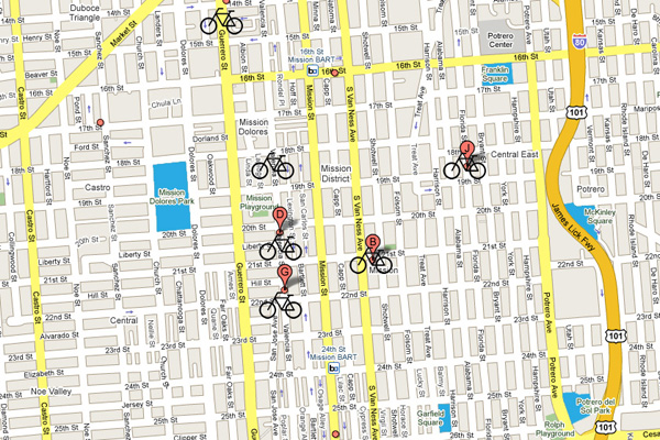 Bicycle shops in the Mission District.