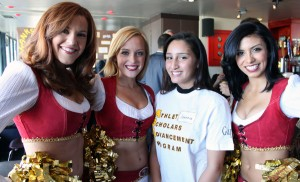 Jasenia Quintana-Lopez posed proudly with 49ers cheerleaders at Lookout.