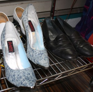 A pair of Frederick's of Hollywood acid wash stilettos