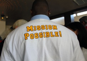 Mission High students wore Athletic Scholars Advancement Program t-shirts.