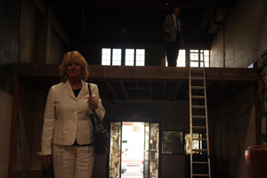 Colleen Meharry and husband inside one of her buildings.