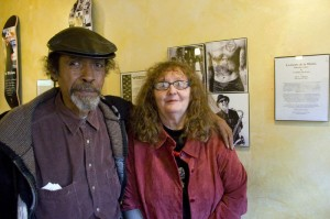 Alfonso Texidor and Linda Wilson in the Sun Rise Cafe, the opening day of Lopez and de Losa's exhibit.