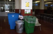 Photos on signs above the three bins help the students sort their trash.