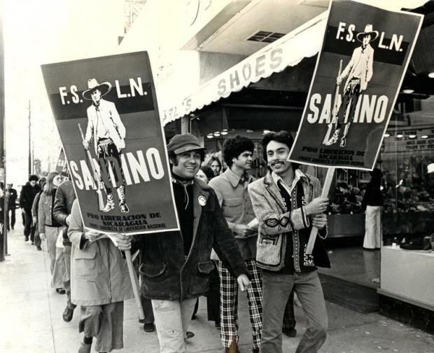 Roberto Vargas and Alejandro Murguia demonstrating at the first Nicaraguan solidarity march in the nation. Circa 1974.