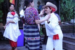 A Guatemalan folkloric dance troupe entertains the crowd.