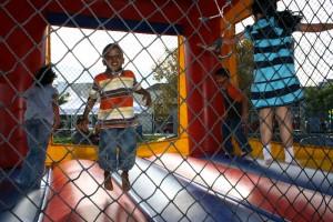 Children enjoy the jumper.