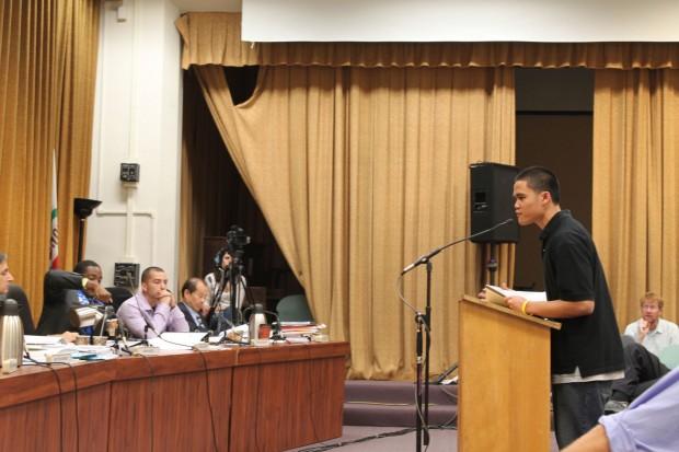 Student Pedro Alforque, 19, talks to trustees Thursday, Oct. 22.