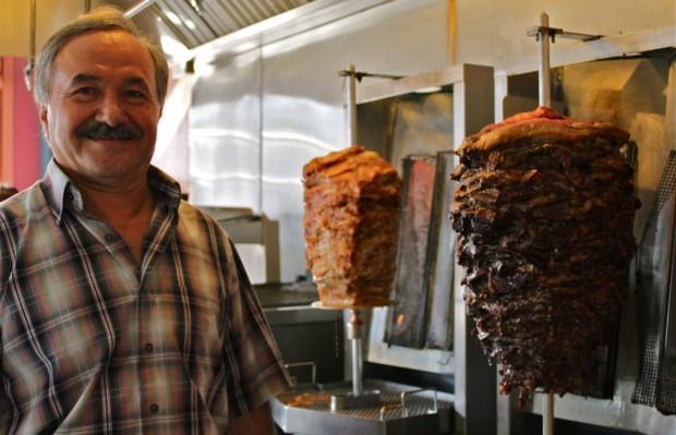 Shawarma sizzles behind the counter at Ali Baba's Cave.