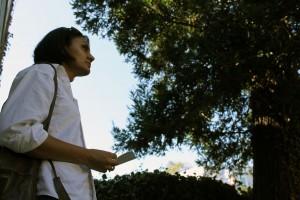 Patel contemplates the property's backyard.