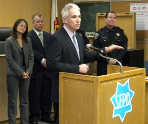 Police Chief George Gascón speaks at the press conference in the Hall of Justice.