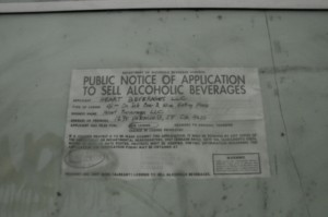 Publc notice of application for liquor license.  Wine bar?