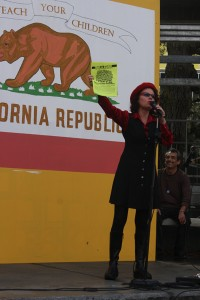 Brigittte Davila, a professor at SF State ask students to attend the rally.