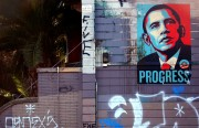 An Obama poster still hangs at 15th and Dolores Streets in 2009.