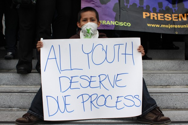 Demonstrator at immigration rally in 2009. Photo by Amanda Martinez.