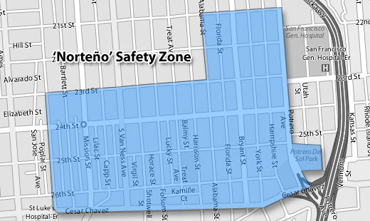 """The """"safety zone"""" is where the injuction is in place."""