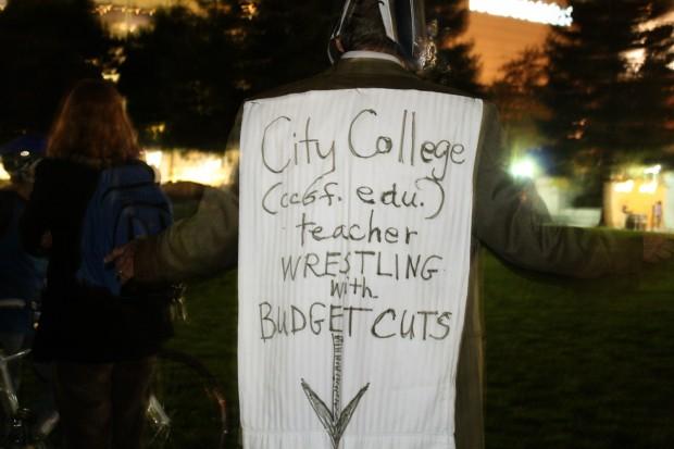 City College teacher Tom White at Monday's rally.