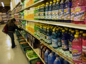 An aisle lined with cleaning products at the Giant Value Store, located at 2558 Mission St.