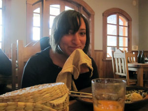 Andrea with her napkin.