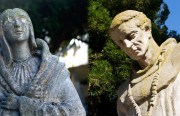Statues of Kateri Tekakwitha and Junipero Serra in Mission Dolores cemetery.