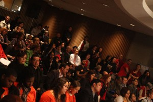 Supporters take their cause into the Board of Education meeting. (Rigoberto Hernandez)