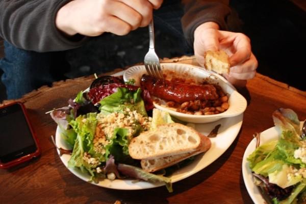 A sausage plate, $7.75.
